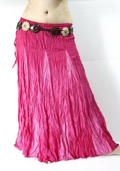 BOHO crinkle summer long skirt hippie gypsy pink 100 by bohoemian, $13.99