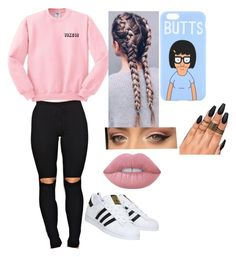 yikes! by savannah-kennedy-1 on Polyvore featuring polyvore, adidas, Lime Crime, fashion, style and clothing