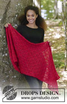 Hot Coal / DROPS - Free knitting patterns by DROPS Design - Free knitting instructions - Knitting Blogs, Knitting Designs, Knitting Patterns Free, Free Pattern, Scarf Patterns, Knitted Hats Kids, Knitted Shawls, Crochet Shawl, Lace Shawls