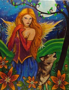 Seraphina Angel Wolf  Acrylic Painting by TheStudioBurke on Etsy, $75.00