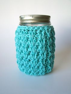 Aqua Small Mason Jar cozy Crochet jar sleeve by HookMadness, $8.00