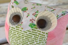 Owl doorstop  new upcycled fabric by UrbanTreehouse on Etsy, $15.00