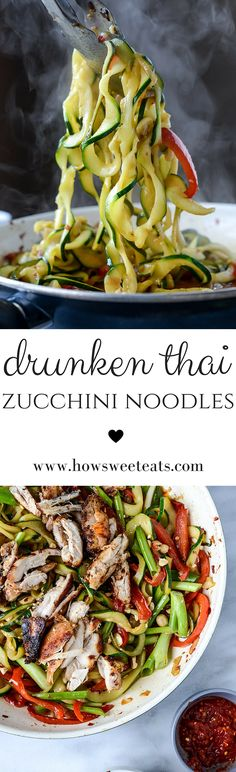 Thai Drunken Zucchini Noodles with Spicy Honey Chicken by @howsweeteats I howsweeteats.com