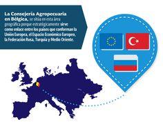 La Consejería Agropecuaria en Bélgica, se sitúa en esta área geográfica porque estratégicamente sirve como enlace entre los países que conforman la Unión Europea, el Espacio Económico Europeo, la Federación Rusa, Turquía y Medio Oriente. SAGARPA SAGARPAMX