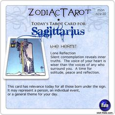 Zodiac Tarot for November 30: Sagittarius <br>  http://ifate.com