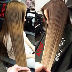 Box color banding. Before and After Make-over #balayage #ombre
