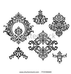 Vector SET seamless pattern with ornaments. Vintage element for design in Victorian style.