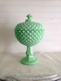 Jadite Glass Covered Compote Candy Dish by yellowfinchantiques