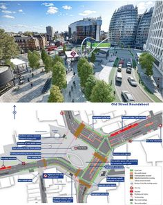 Superb rendering and plan demonstrate proposed changes to London's Old Street Roundabout. Click image for link to public forum via Transport for London, and visit the slowottawa.ca boards >> https://www.pinterest.com/slowottawa/