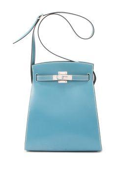 Vintage Hermes Box Calf Kelly Sport PM (Stamp: Square D, Silver Hardware) Shoulder Bag
