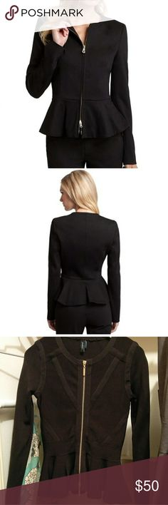 Marciano Toledo peplum jacket black stretch xs EUC. Stylish and work appropriate! Only been dryeled.   • Structured jacket. Collarless. Long sleeves.  • Peplum hem. Lined.  • Zipper closure at front  • 65% Viscose, 30% Nylon, 5% Spandex  • Dry clean (but with that fabric content I would hand wash) Marciano Jackets & Coats Blazers