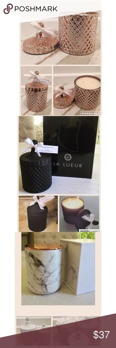 Hand poured soy candle in luxurious glass canister https://www.etsy.com/shop/LaLueurCandles Burn time is approximately 55+ hours. Candle listed is 4.5 inches in width and 7 inches high and holds approximately 17 oz of wax. Very large candle and will last a long time!  - Each candle has a warning label on bottom and comes with a pearl colored tag bowed with a satin ribbon.  Choose from these 6 amazing fragrances:  Mint Mojito Citrus Cilantro Black Currant Tea Hibiscus Guava Grapefruit…
