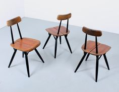 Set of 3 Pirkka dinner chairs by Ilmari Tapiovaara for Laukaan Puu Finnland, 1950s