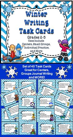 This is a set of 40 writing task cards for winter were developed using the common core standards. These task cards can be used in a writing center, in a journal, or during small group instruction. These task cards will help your students improve their writing skills. They will develop real and imaginary experiences to use in their writing. Students will provide details and practice their creative writing skills.