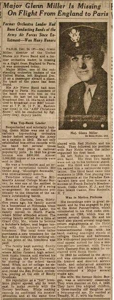 Glenn Miller Missing Newspaper Clipping