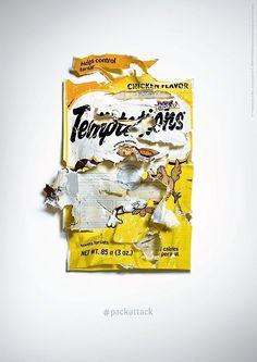 """Womit könnte man besser für Katzensnacks werben als mit Verpackungstüten, die von Katzen nur so zerfetzt wurden, weil sie es nicht abwarten konnten, an den Inhalt zu kommen? Die Idee zur Kampagne """"#Packattack"""" hatte man bei Adam&Eve DDB London. Dazu gibt e"""