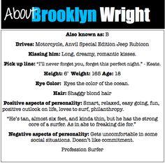 Character Profile: Brooklyn from Kiss Me by Jillian Dodd, hot guys, books, The Keatyn Chronicles