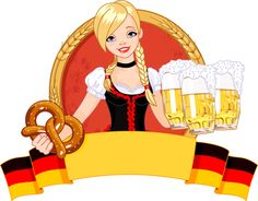 Girl with beer oktoberfest vector material 03