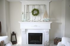 Brandi Sawyer The Nest Rustic Fireplace Decor Reclaimed Window Boxwood Wreath White Lantern