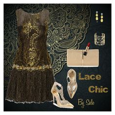 """""""Lace Chic"""" by selene-cinzia ❤ liked on Polyvore featuring Notte by Marchesa, René Caovilla, Nina Ricci, Joanna Laura Constantine, Marco Bicego and Lancôme"""
