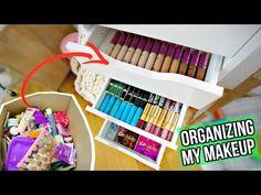 Organizing my Makeup (*very satisfying montage) Ikea Makeup Hacks, Makeup Organizing Hacks, Ikea Organization, Makeup Storage Organization, Best Makeup Tips, Best Makeup Products, Carli Bybel Makeup, Diy Makeup Palette, Dollar Tree Makeup
