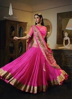Pink net and georgette Lehenga with floral dupatta