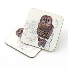 Owl Coaster Pinned by www.myowlbarn.com