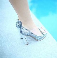 Looking Feeling Great Dreamy Sparkling Silver Bow High Heels 1204  Silver Heels 