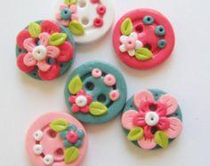Button Tiny Rose Buds handmade polymer clay от digitsdesigns