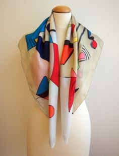 Lets get some silk fashion out there! Add some wearable art to your outfit on any season.  This is a beautiful square silk scarf, painted in tan, grey red, green, blue and other colors.  This will look great on you with any outfit, perfect for everyday wear or an elegant party or wedding.  Size: width: 90 cm = 36 inches height: 90 cm = 36 inches  Materials: Silk: ponge 8.  Washing: I recommend to wash this scarf hand only, although you can use the washing machine with the softest se...