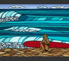 Surf Girl - a surfer girl and her surfboard watching the waves on the North Shore of Oahu by Hawaii surf artist Heather Brown