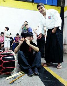 Shou Ryu Daiko e invitado, en exhibicion de aikido, a cargo de Nicolas Roldan