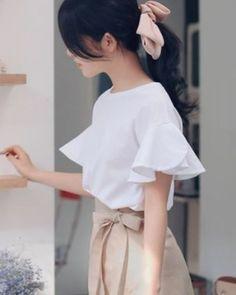 ラッフルフリル スリーブ コットン Tシャツ★ 全4色♪