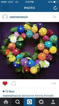 Zinnia pine cone wreath by kirsten