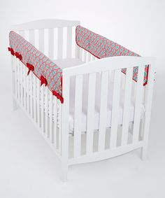 MADE IN USA Red Damask Lattice Large Rail Covers - Set of Two