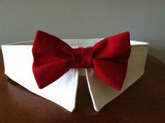 Red Bow Collar Handmade Dog Bow Tie Collar Dog Ring by MaudeMarie, $21.95  Krist, for Mr. Milo!! :)