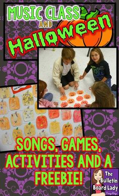 """Music class and Halloween can be a BOOtiful thing!  Learn about ways to get your students moving, thinking and creating with ideas like Pass the Pumpkin, There's a Spider on My Head, Pumpkin Patterns, Jazzy Jack-o-Lanterns and more!  Your elementary music students will be """"howling"""" with delight!"""