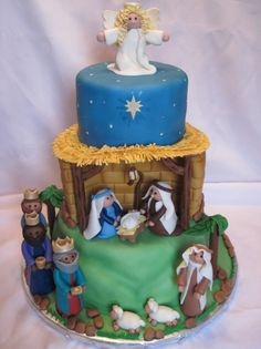 Happy Birthday, Jesus! - Three tiered vanilla cake. Decorations are made of marshmallow fondant. I have been looking forward to this cake. I was excited to have an opportunity to honor my Lord with the talents he has given me.