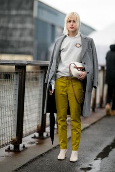 Mix up a monochromatic outfit with colorful trousers.