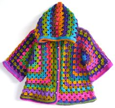 Afghan Crochet Girl Wool Hoodie Cardigan, Colorful, Baby/Toddler Girl, three-quarter sleeve by NeslisHandcrafts on Etsy https://www.etsy.com/listing/180097500/afghan-crochet-girl-wool-hoodie-cardigan