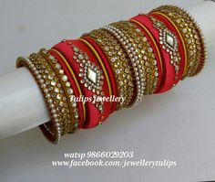 Bridal collection Silk Thread Bangles Design, Silk Thread Necklace, Silk Bangles, Gold Bangles Design, Bridal Bangles, Thread Jewellery, Wedding Chura, Bridal Chura, Indian Bangles