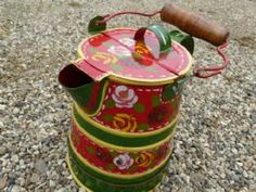 Small Narrowboat Ware Painted Watering Can With Handle Canal Ware in Green / Black