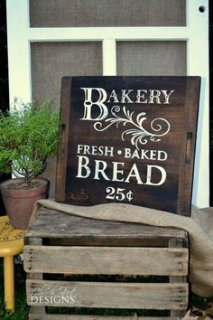 Hand Painted Vintage Bakery Sign - Fresh Baked Bread