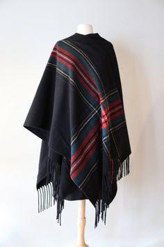 Vintage Pendleton Plaid Wool Shawl Cape ~ Vintage 1970s Wool Pendleton Fringed Wrap Coat by xtabayvintage on Etsy