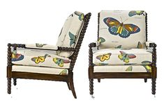 Wesley Hall Bobbin Chair...that Butterfly Fabric Is Lush! | Bobbin Chair |  Pinterest | Butterfly Chair, Hall And Spindle Chair