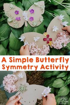 Learning about butterflies lends itself nicely to teaching kids about symmetry! This hands-on activity is so easy to prep and looks gorgeous when finished. Turn off the screens, go outside, and give this nature craft a try today! Symmetry Activities, Nature Activities, Outdoor Activities For Kids, Hands On Activities, Preschool Activities, Crafts For Kids, Forest School Activities, Simple Butterfly, Inspired Learning