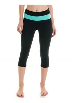 High Rise Color Panel Leggings - Black/Mint