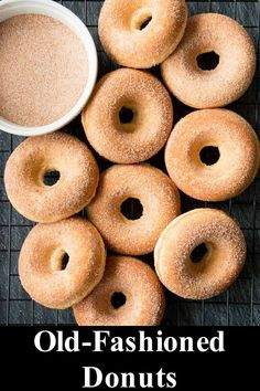 These old-fashioned donuts are soft and cakey with a hint of nutmeg on the inside and finished with a crunchy cinnamon-sugar coating. This baked version of a classic favorite is healthier and easier to make. Baked Donut Recipes, Baked Doughnuts, Baking Recipes, Dessert Recipes, Baked Churros, Baked Old Fashioned Donut Recipe, Old Fashion Donut Recipe, Biscuits, Sugar Sticks