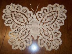 Vintage Crocheted Butterfly doily beige crochet to frame or