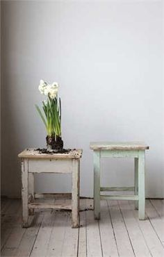 """Vintage European Distressed Stool-Every farmhouse needs a stool...or 10. We collect random stools...and use them everywhere. These beauties are flawless.Each one will vary. Approximately 18"""" 25"""" high"""